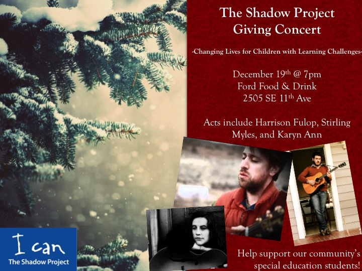 The Shadow Project giving concert – December 19th @7pm